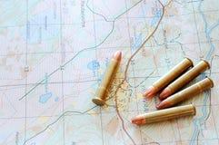 ammo mapy whit Zdjęcie Stock