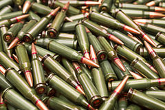 Ammo. Pile of green russian rifle ammunition Royalty Free Stock Image