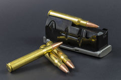 Ammo with a rifle clip Royalty Free Stock Photo