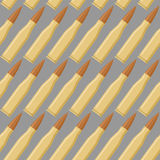 Ammo seamless pattern. War accessory texture. Bullet repeating background. Soldiers ammunition stock illustration