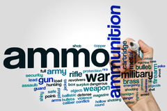 Ammo word cloud concept on grey background Stock Photos