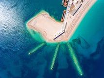 Ammoglossastrand dichtbij de Stad van Lefkada in het Eiland Griekenland van Lefkada Royalty-vrije Stock Foto's