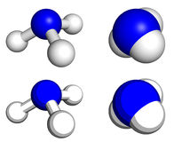Ammonia. Molecule, ball-and-stick and space filling models Royalty Free Stock Photo