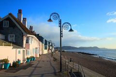 Ammonite lamp post. In Lyme Regis, Dorset royalty free stock images