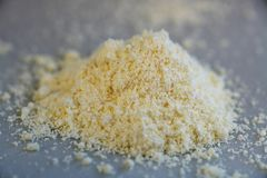Ammonium iron chemical substances in close up. Ammonium iron powder from the chemical kit with macro lens Stock Photo