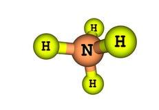 Ammonium moleculaire die structuur op wit wordt geïsoleerd Stock Fotografie