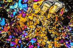 Ammonium sulfate microcrystals. Microscopic shot  showing Ammonium sulfate crystals illuminated with polarized light Royalty Free Stock Image