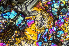 Ammonium sulfate microcrystals. Microscopic shot  showing Ammonium sulfate crystals illuminated with polarized light Royalty Free Stock Photography