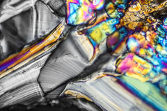 Ammonium sulfate microcrystals. Microscopic shot  showing Ammonium sulfate crystals illuminated with polarized light Royalty Free Stock Photo