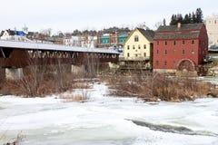 Ammonoosuc flod i Littleton, NH Fotografering för Bildbyråer