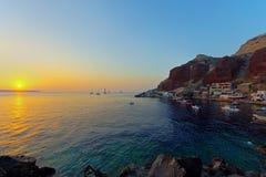 Ammoudi au coucher du soleil Photographie stock