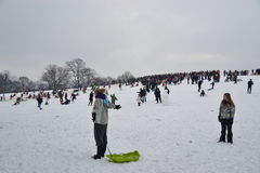 Ammucchi godendo della neve alla brughiera di Hampstead, Londra Fotografia Stock