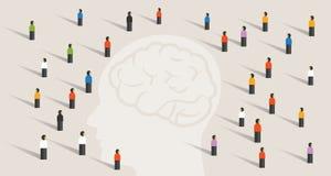 Ammucchi il gruppo di molta gente con la grande mente capa che pensa insieme malattia di memoria di sanità del cervello di saggez Immagini Stock
