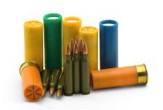Ammunition. A set of shotgun shells and ammunition Royalty Free Stock Photo