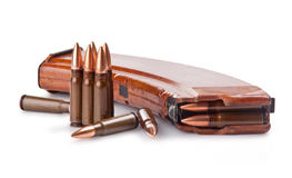 Ammunition. Scratched ammunition for AK-47 on a white background Royalty Free Stock Images