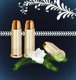 Ammunition. Icon Vector two rounds of pistol caliber royalty free illustration