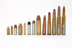 Ammunition. Varied centerfire ammunition, isolated on white Stock Photos