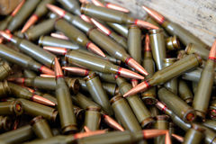 Ammunition. AK 47 ammunition  in a wood box Royalty Free Stock Photography