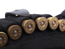 Ammunition belt. Closeup view against white Stock Photo