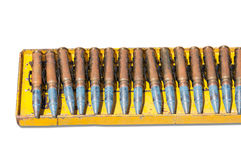 Ammunition belt ,chain of cartridges  on white Royalty Free Stock Photography