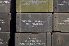 Ammunition Boxes. Green Army ammunition surplus boxes Stock Photo
