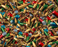 Ammunition Bullets Background. As a dangerous explosives concept with a group of different calibre ammo representing the risk of violence and security social Royalty Free Stock Photography