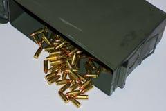 Pistol ammo. Ammunition, bullets, brass, projectile, ammo can, military surplus Stock Photos