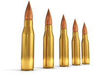 Ammunition bullets on white background Royalty Free Stock Photography