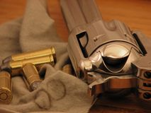Ammunition and Cowboy Gun. Single Action Gun and Ammunition Royalty Free Stock Image