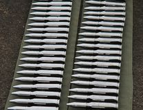 20mm bullet rounds. Belts of depleted uranium armour piercing 20mm rounds for the M61 Vulcan Gatling Gun in the F16 and F15SG royalty free stock images