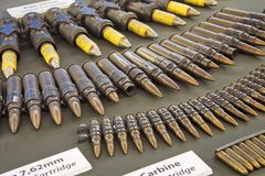 Ammunition on display in the War Remnants Museum in Ho Chi Minh Royalty Free Stock Images