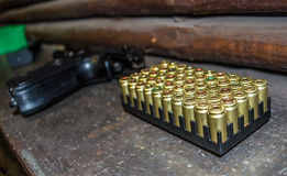 Ammunition and gun Royalty Free Stock Images