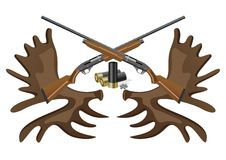 Ammunition, guns and horns. Hunting rifles and ammunition against the horns of an elk vector illustration