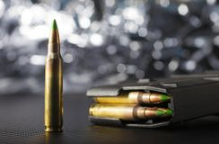 Ammo for an AR-15. Ammunition and a magazine for an AR-15 rifle Stock Photos