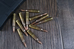 Ammunition and magazines 223 rem stock photo