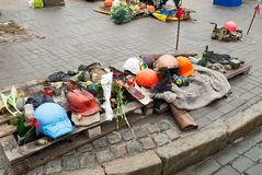 Ammunition on the Maidan. Amuition of protesters on Maidan in Kiev Royalty Free Stock Images
