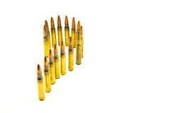 Ammunition for rifle on white background. Royalty Free Stock Photography
