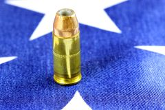 Ammunition on United States flag - Second Amendment Rights Royalty Free Stock Image