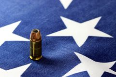 Ammunition on United States flag - Second Amendment Rights Stock Images