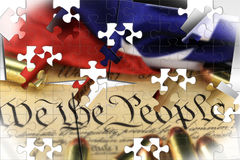 Ammunition on US Constitution - The Right to Bear Arms Stock Images