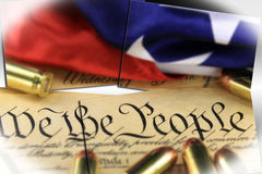 Ammunition on US Constitution - The Right to Bear Arms Royalty Free Stock Photo