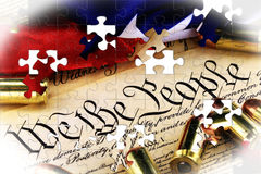 Ammunition on US Constitution - The Right to Bear Arms Royalty Free Stock Photography