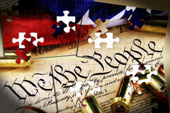 Ammunition on US Constitution - The Right to Bear Arms Royalty Free Stock Photos