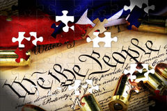 Ammunition on US Constitution - The Right to Bear Arms Royalty Free Stock Image