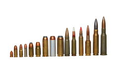 Ammunition of various calibres, isolated Stock Images