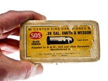 Ammunitionask cal 38 S & W den borgerliga spanjoren kriger 7 Arkivfoton