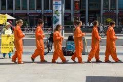 Amnesty International activists protest at Potsdamer Platz Royalty Free Stock Photo