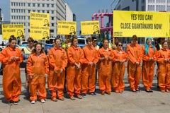 Amnesty International activists protest at Potsdamer Platz Stock Photography