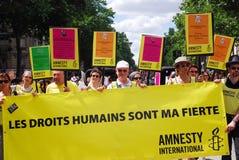 Amnesty International en el orgullo alegre 2009 de París Imagen de archivo libre de regalías