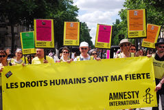 Amnesty International no orgulho alegre 2009 de Paris Imagem de Stock Royalty Free